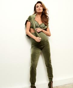 Schwangerschafts-Jogginghose Velours, grün