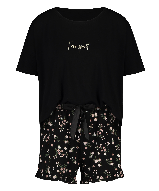 Kurzes Pyjamaset Ditzy Flower, Schwarz, main