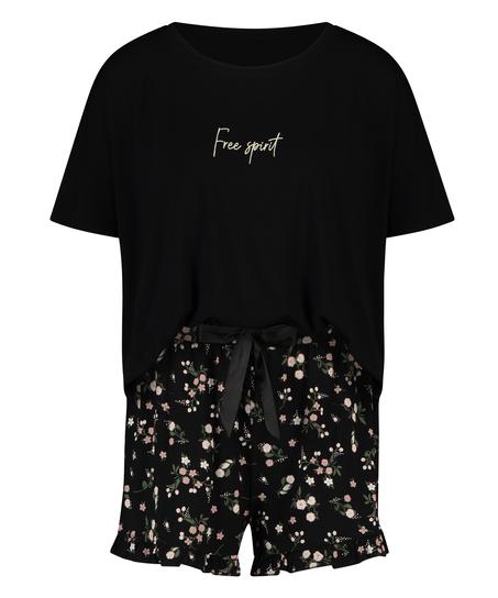 Kurzes Pyjamaset Ditzy Flower, Schwarz