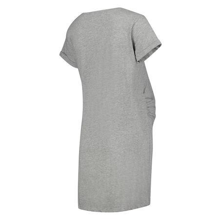 Umstandsnachthemd mit kurzen Ärmeln, Grau