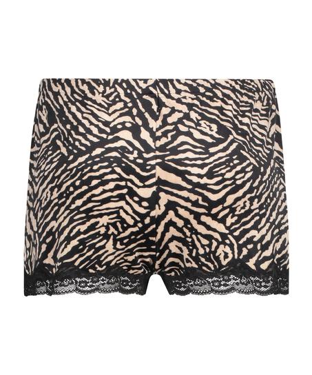 Shorts Velours Zebra, Schwarz