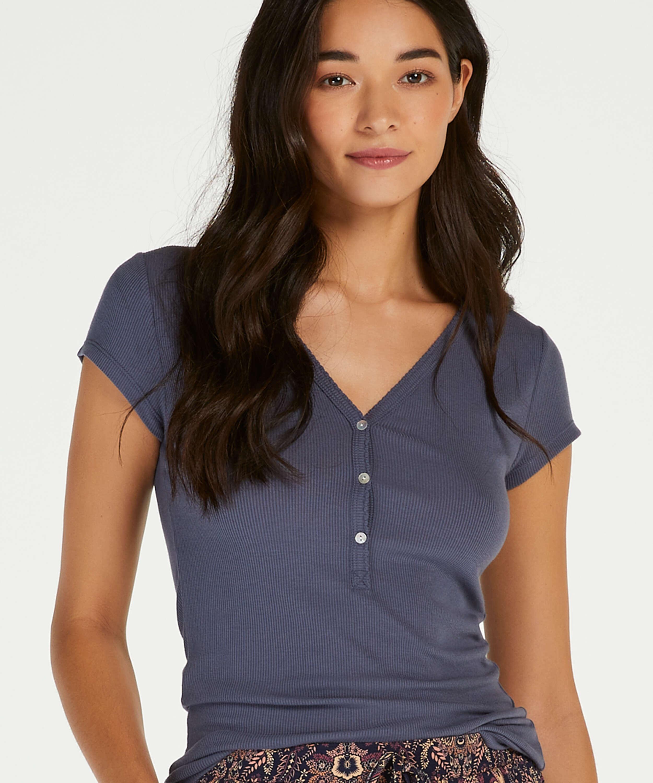 Kurzarm Pyjama Top Rib Placket, Grau, main