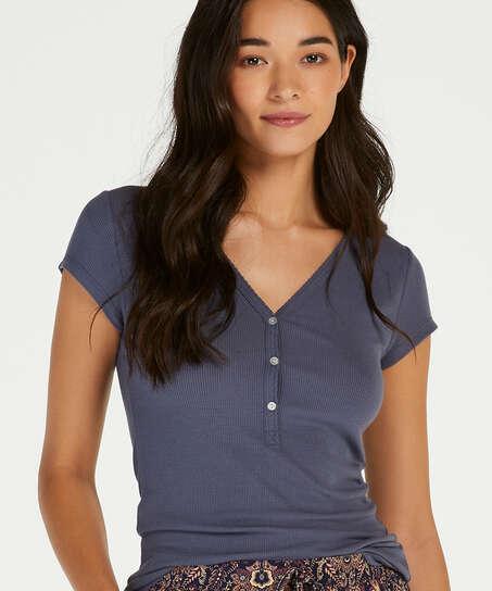 Kurzarm Pyjama Top Rib Placket, Grau