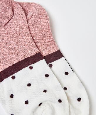 2 Paar Lurex-Socken gepunktet, Rose