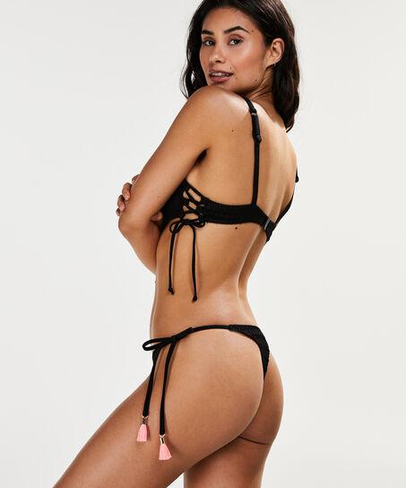 Bikini-Croptop Tied Down, Schwarz