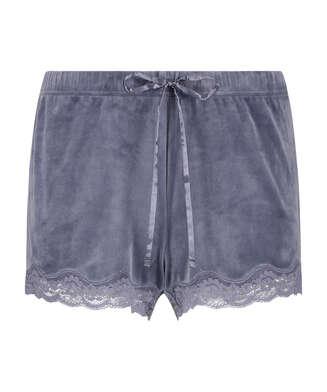 Shorts aus Velours mit Spitze, Grau