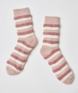 Kuschelige Socken mit Streifen, Rose
