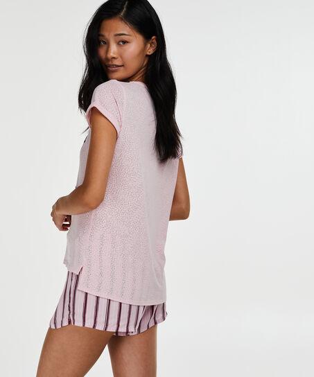 Kurzarm-Pyjamatop Loose Fit, Rose