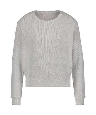 Langärmeliges Pyjamatop brushed Rib, Grau