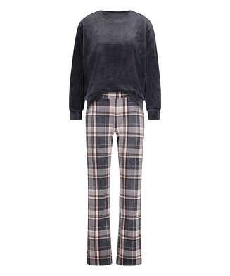 Velour Pyjama-Set, Grau