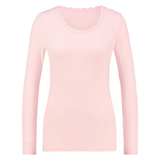 Langarm-Top, gerippt R-neck, Rose