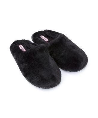 Hausschuhe Fake Fur, Schwarz