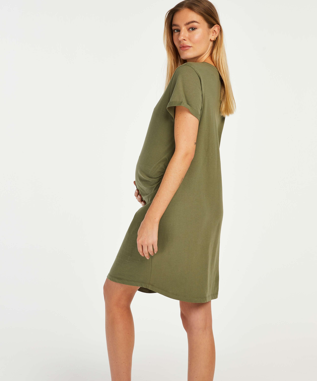 Umstandsnachthemd mit kurzen Ärmeln, grün, main