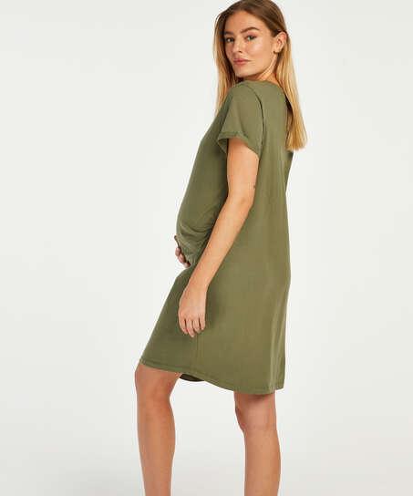 Umstandsnachthemd mit kurzen Ärmeln, grün