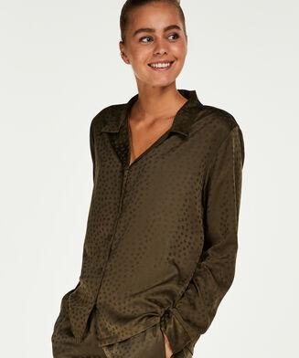 Pyjamatop Satin Jacquard, grün