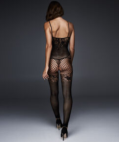 Catsuit Fishnet Lace Mix, Schwarz