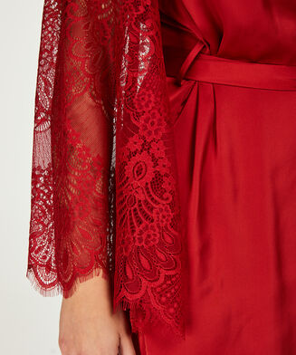 Kimono aus Satin und Spitze, Rot
