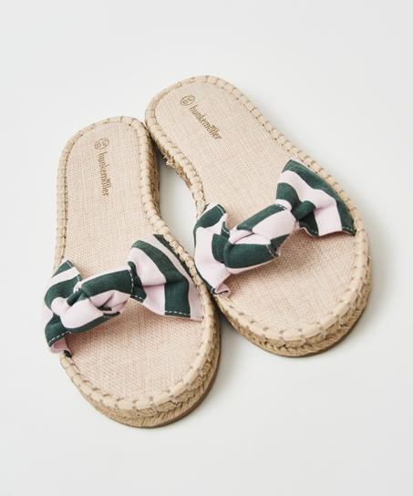 Printed knot-Sandalen, grün
