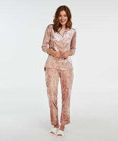 Boyfriend Pyjamas Crushed Velours, Rose