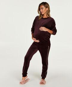 Schwangerschafts-Top langärmlig aus Velours, Rot
