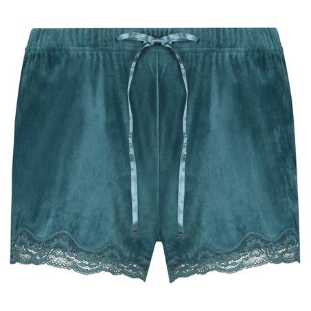 Shorts aus Velours mit Spitze, Blau