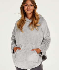 Poncho aus Fleece, Grau