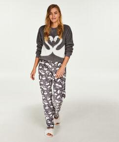 Langärmeliger Fleece-Sweater, Grau