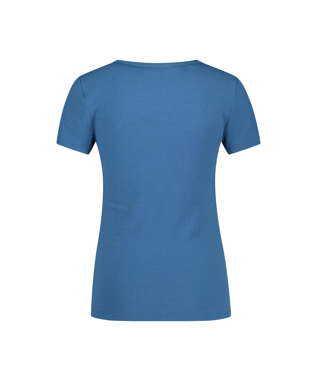 Pyjamatop Rib Crew Neck, Blau, main
