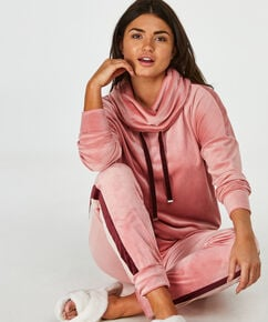 Langarm-Pyjamatop Velours, Rose