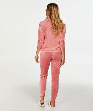 Langarm-Pyjamatop Velours, Rose