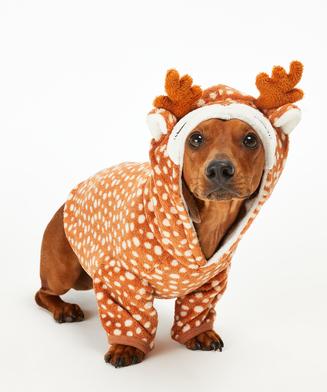 Fleece Hunde-Onesie, Braun