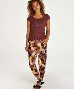Tall Pyjamahose aus Jersey Abstract Leaf, Rosa