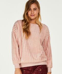 Langärmliges Top aus Fleece, Rose