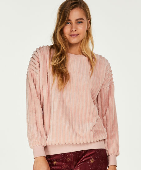 Langärmliges Top aus Fleece, Rose
