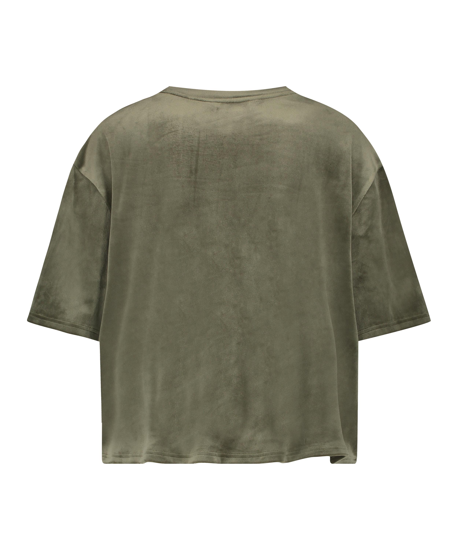 Top Velours Pocket, grün, main