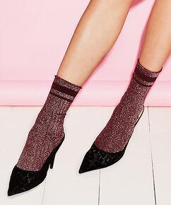 Lurex-Socken Rib , Rot