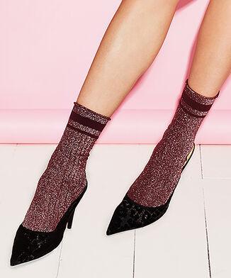 Lurex-Socken Rib, Rot