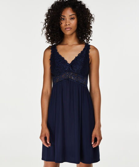 Slipdress Modal Lace, Blau