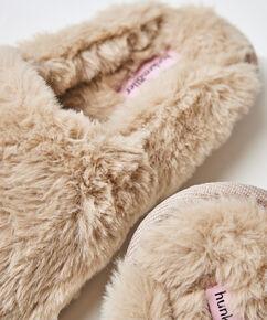 Hausschuhe Fake Fur, Weiß