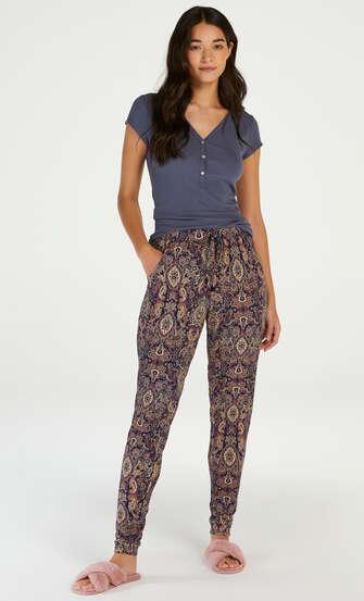 Pyjamahose aus Jersey, Blau