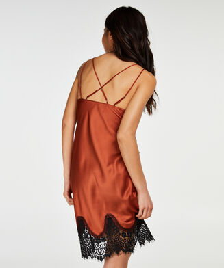Slipdress Lace Satin, Rot