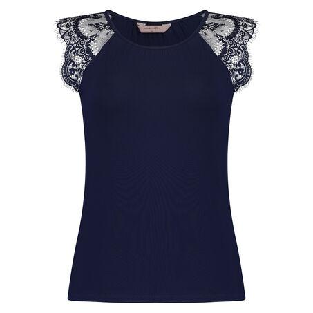 Singlet Jersey Lace, Blau