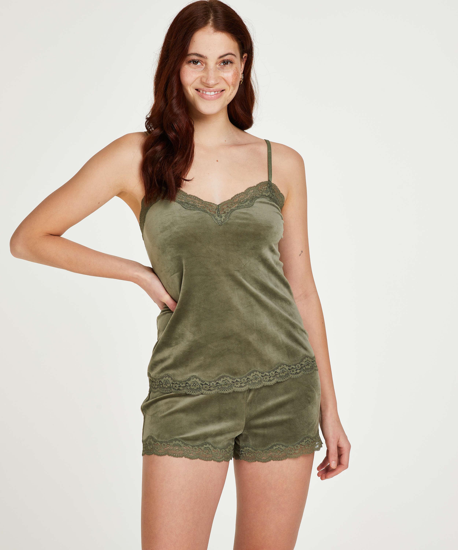 Shorts aus Velours mit Spitze, grün, main