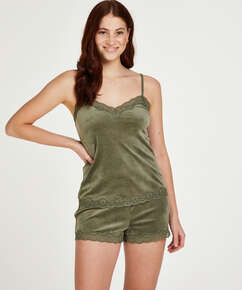 Shorts aus Velours mit Spitze, grün