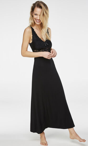 Langes Slipdress, Modal Lace, Schwarz