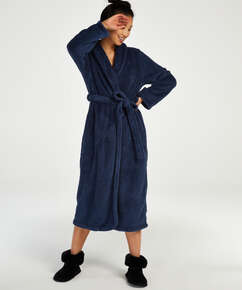 Fleece-Bademantel lang, Blau
