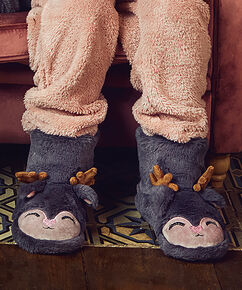 Rentier-Pantoffeln, Grau