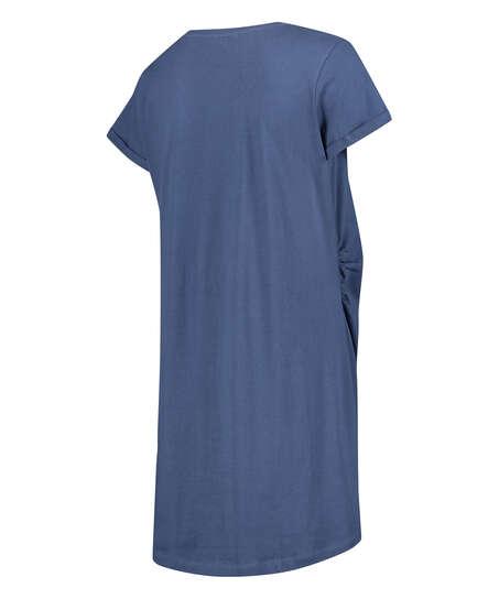 Umstandsnachthemd mit kurzen Ärmeln, Blau