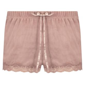 Shorts aus Velours mit Spitze, Rosa