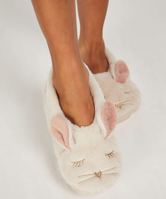 Pantoffeln Ballerina Kaninchen, Beige, main